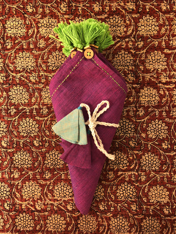 dinner napkins - purple & green tassels