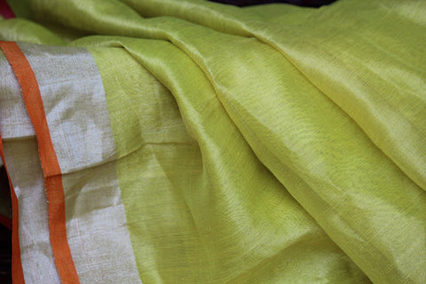 handwoven chanderi saree - lemon yellow & dahlias