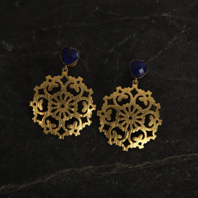 jewelry - berserk - Gold Plated Lapis Carved Drop Danglers
