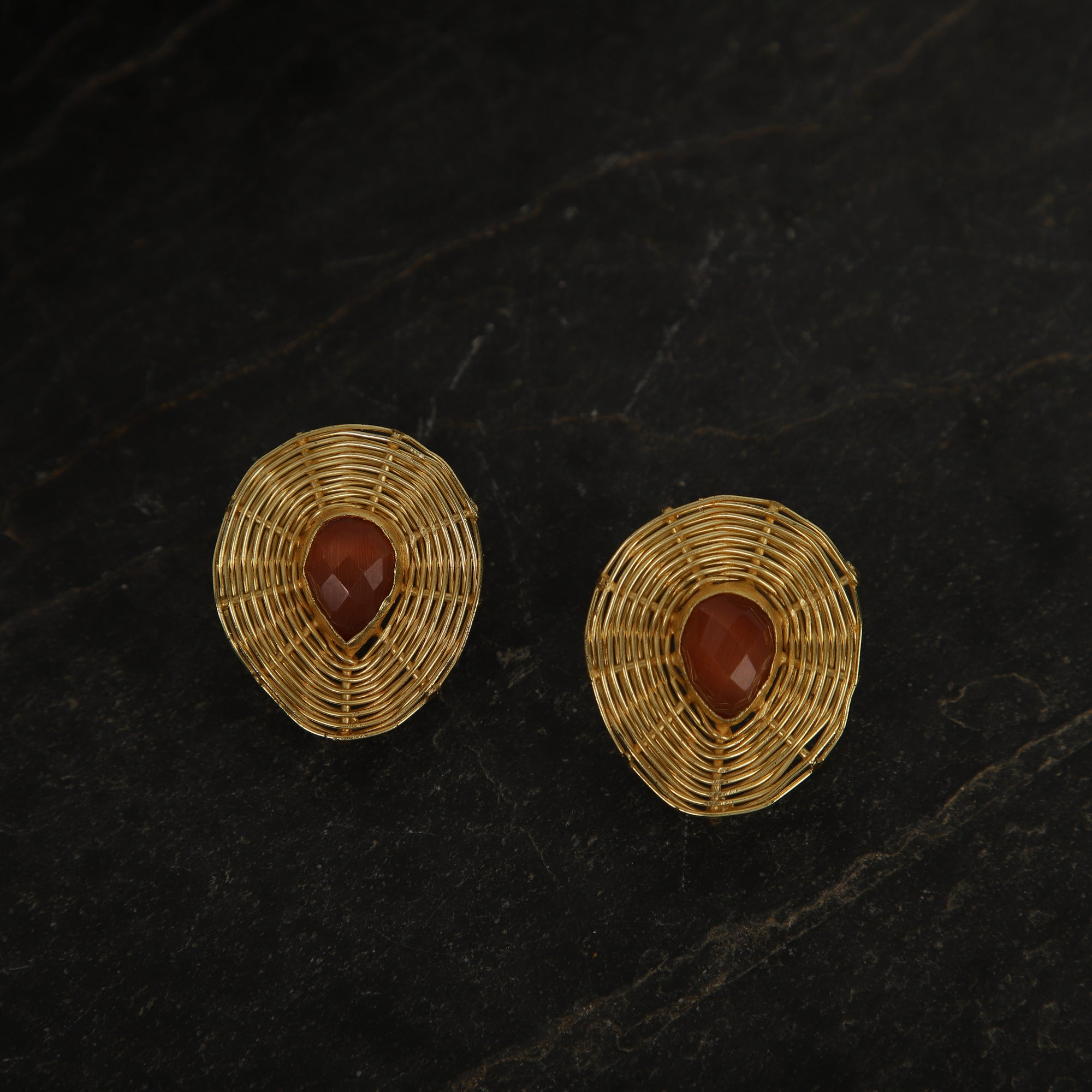 jewelry - berserk - Gold Plated Carnelian Teardrop Studs
