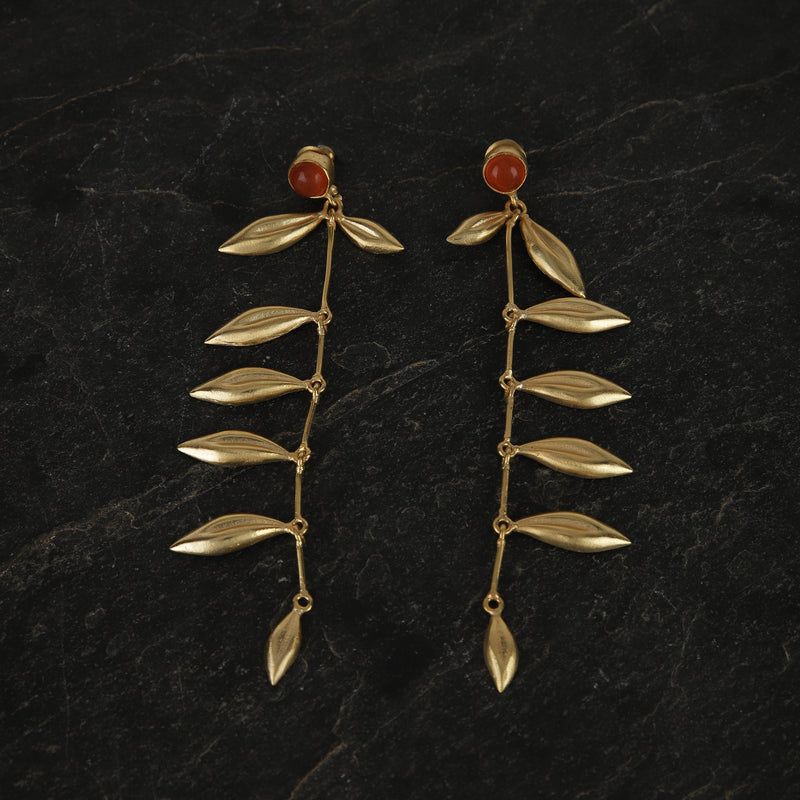 jewelry - berserk - Gold Plated Carnelian Leaf Danglers