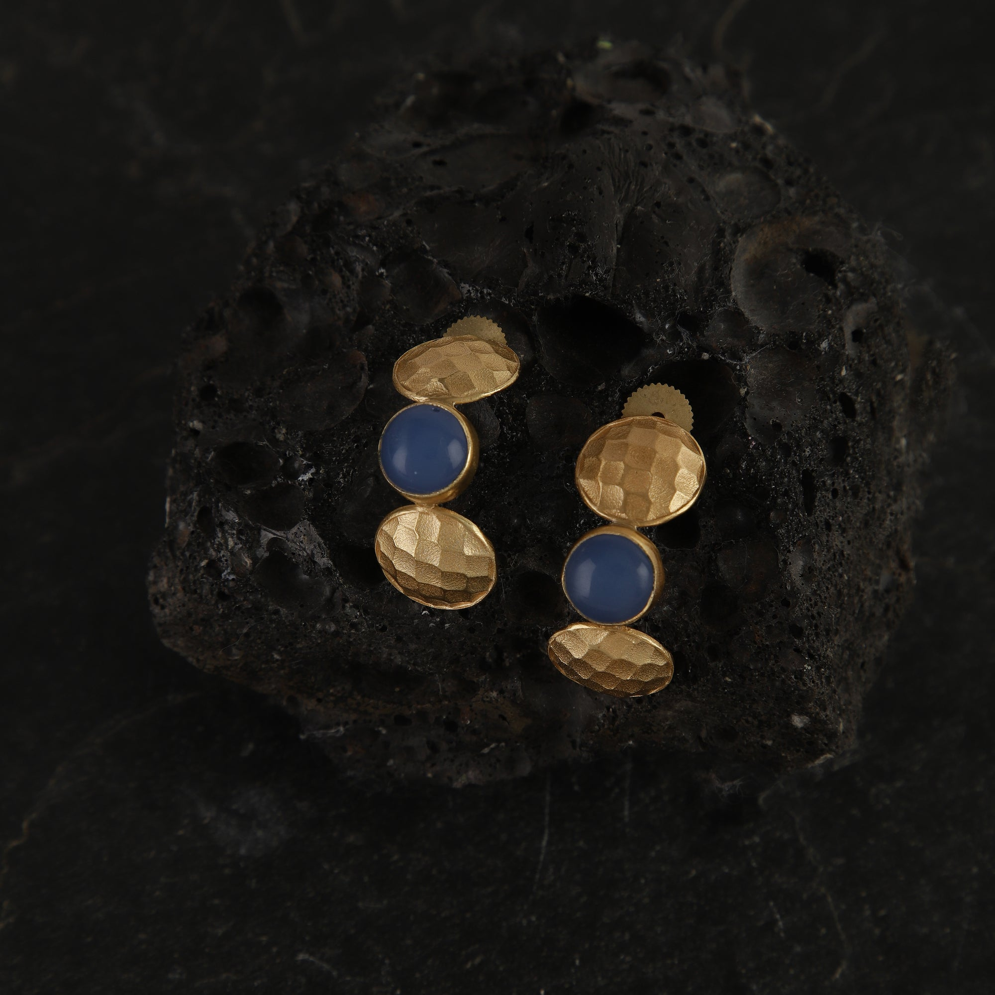 jewelry - berserk - Gold Plated Lapis Half Hoops