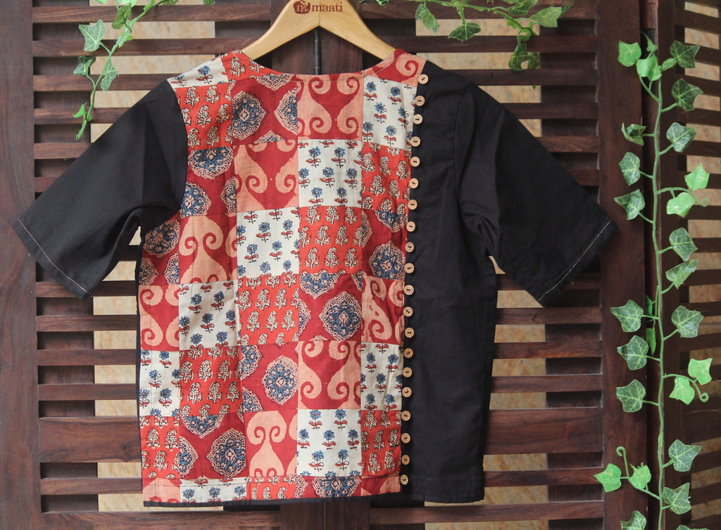 BLOUSE - PATCHWORK RED-WHITE MULTICOLOUR
