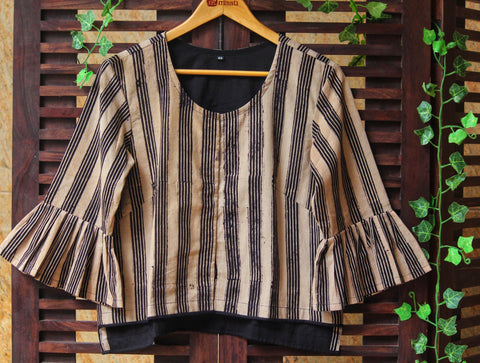BLOUSE - RUFFLED SLEEVE WITH BLACK-BEIGE LINES