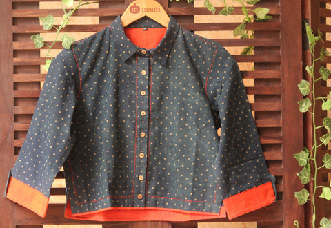 BLOUSE - SHIRT COLLAR WITH INDIGO-HENNA POLKA DOTS