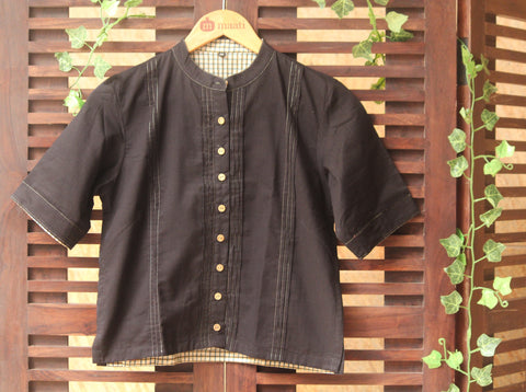 BLOUSE - BLACK & GOLD ZARI