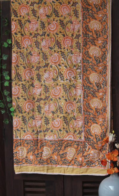 double handcrafted dohar - beige yellow & roses