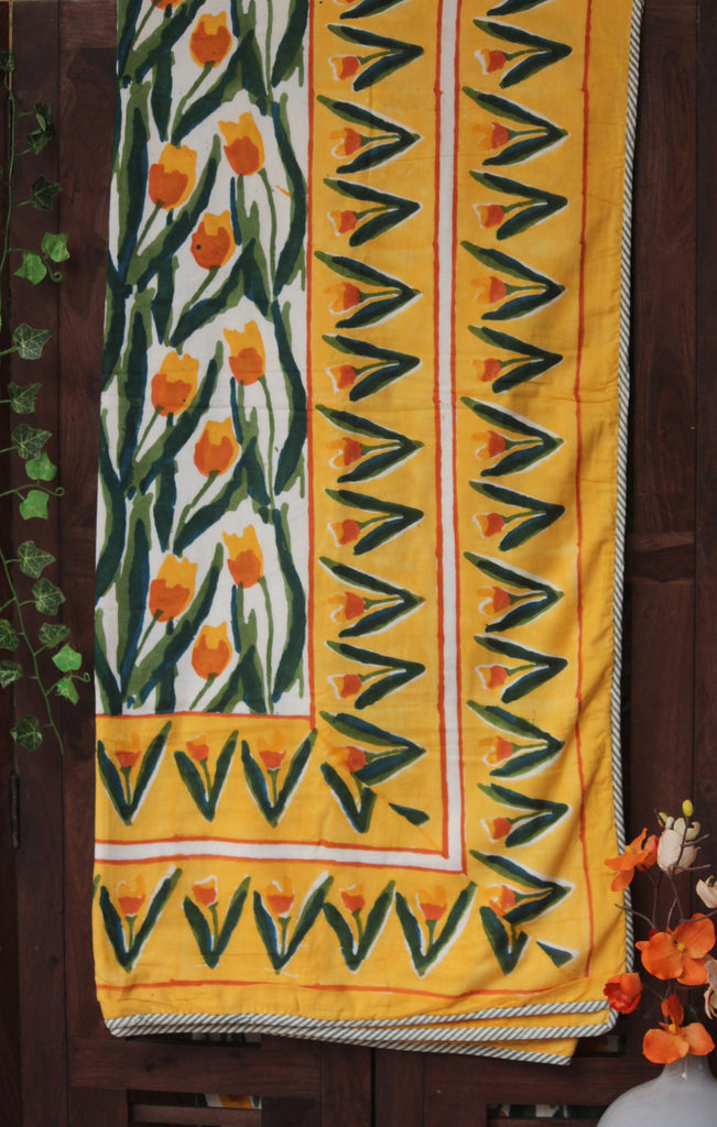 double handcrafted dohar - a garden of yellow tulips