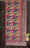 double handcrafted dohar - lotus pink & indigo bloom