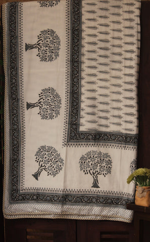 double handcrafted dohar - monochrome & tree of life