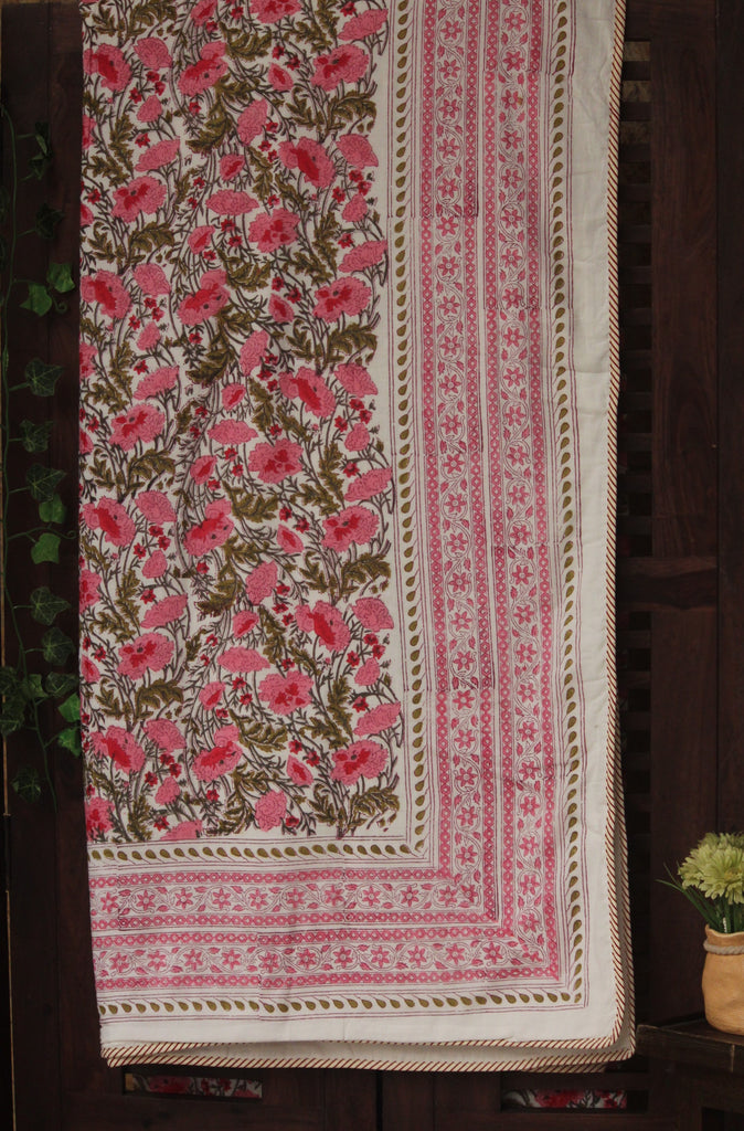 double handcrafted dohar - pink carnations & mughal buta