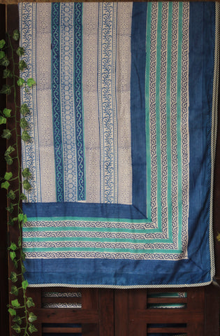 single handcrafted dohar - indigo & spirals