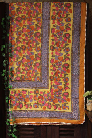 single handcrafted dohar  - mandarin & roses