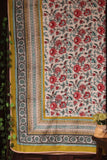 single handcrafted dohar - lush greens & carnations