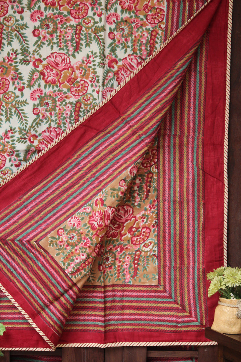 single handcrafted dohar - rubia red & peony