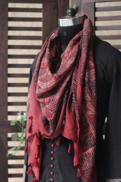 abstract ajrakh dupatta - madder waves & kohl