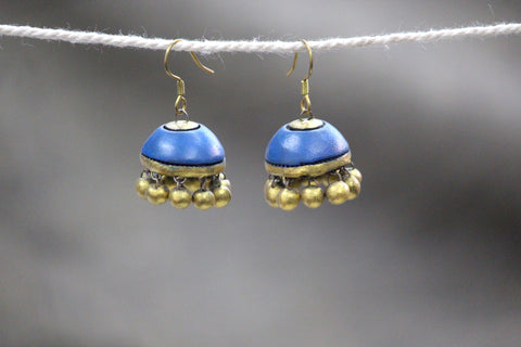 jewelry - terracotta - jhumka blue & gold