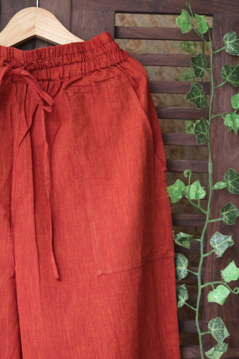 ELASTICATED MANGALGIRI PANTS - RUST-ORANGE
