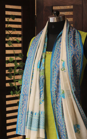 kantha tangail bengal cotton dupatta - a pond of white lotuses