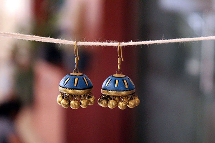 jewelry - terracotta - small jhumka indigo & gold