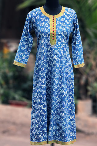 long kurta - indigo+green & potli
