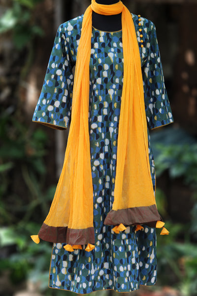long kurta - indigo-yellow & side potli