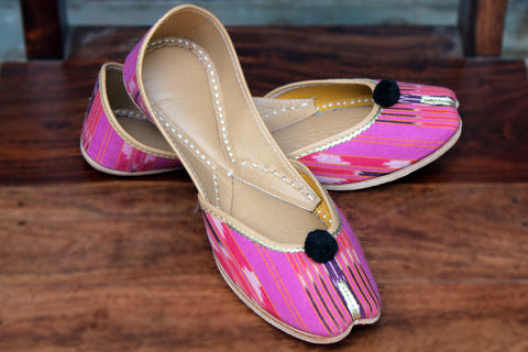 handcrafted juttis: ikat & blush strokes
