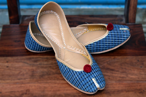 handcrafted juttis: ajrakh & indigo checks