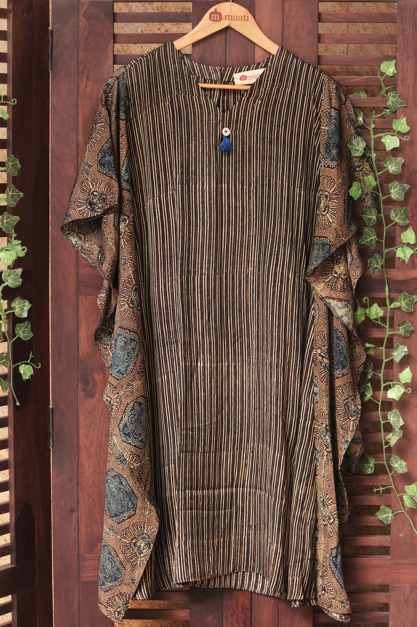 modal kaftan dress in ajrakh coffee brown