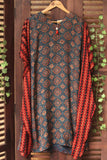 modal kaftan dress in ajrakh indigo red