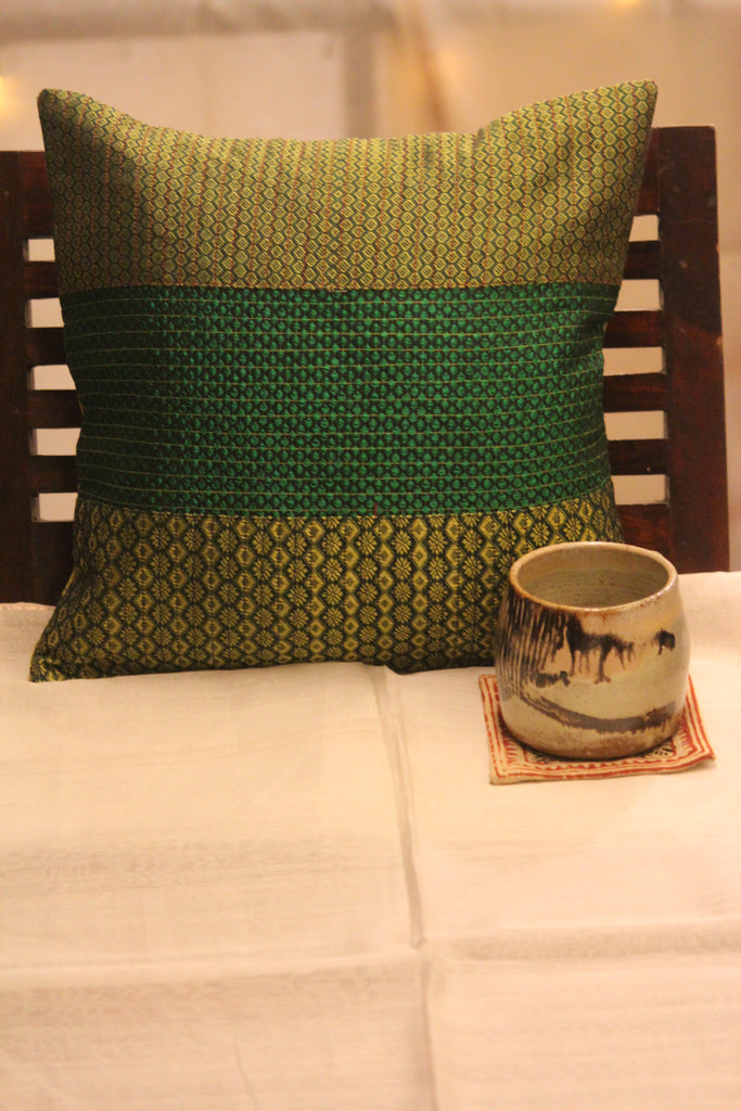 kale nele - green panel khunn cushion cover
