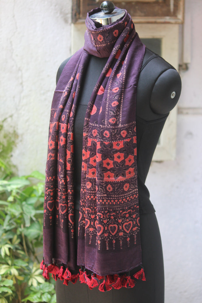 ajrakh silk stole - mauve red &  phool buta