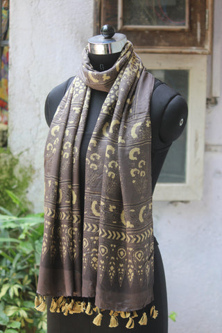 ajrakh silk stole - kashish yellow & midnight sky