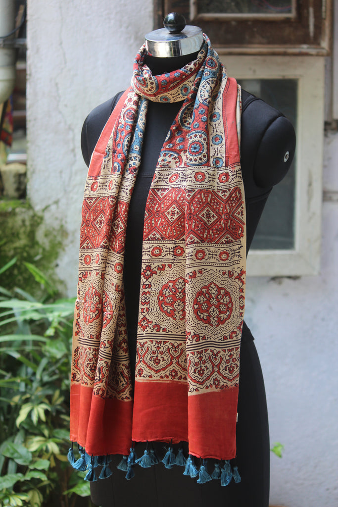 ajrakh silk stole - madder red & indigo ripples