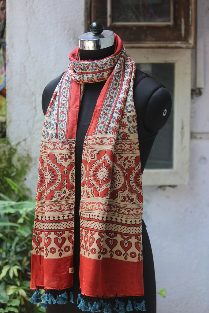 ajrakh silk stole - beige red & dahlias