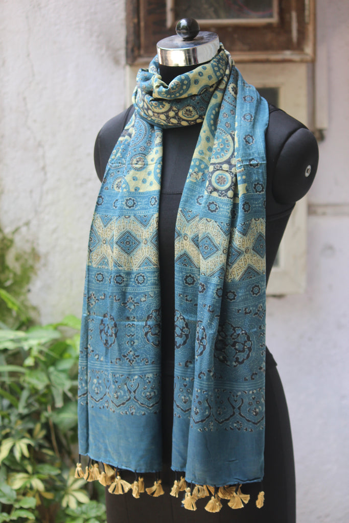 ajrakh silk stole - indigo yellow & a flowing river
