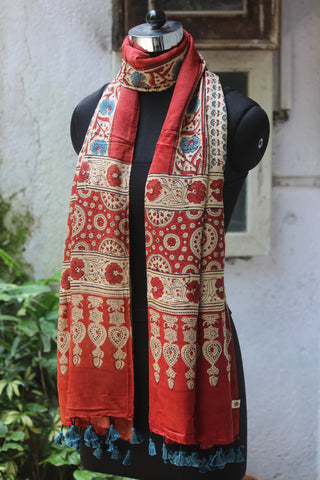 ajrakh silk stole - madder red & phool buti