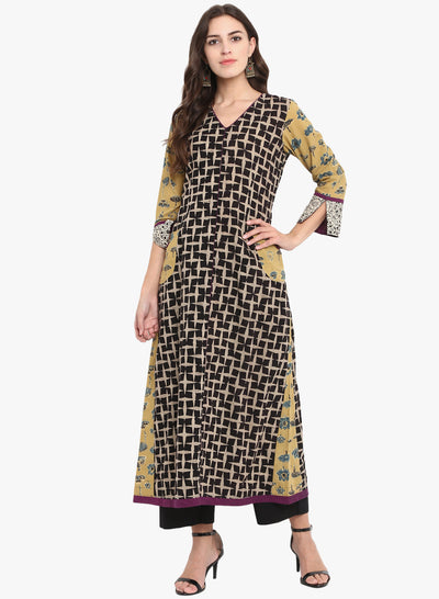 Black bold geometric print V neck A line anarkali with yellow ajrakh side panel