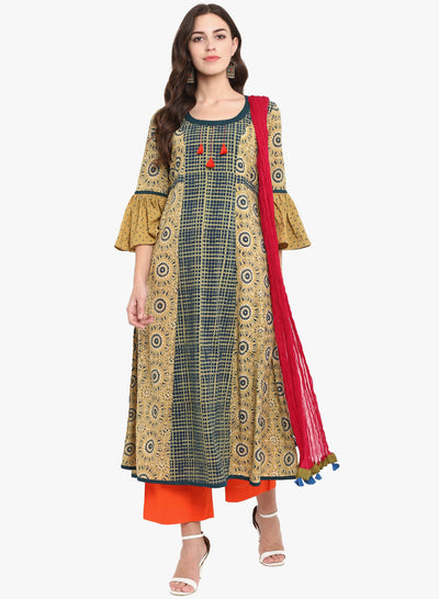 Yellow Indigo ruffle sleeve anarkali with red dupatta