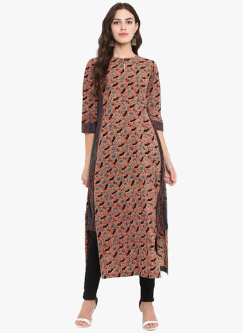kurta with a side twist - chandan rose & fence