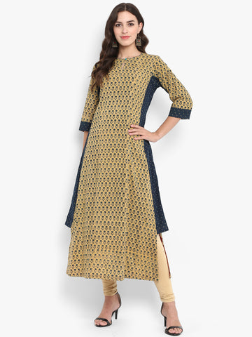 kurta with a side twist - moon mist & mini rosa