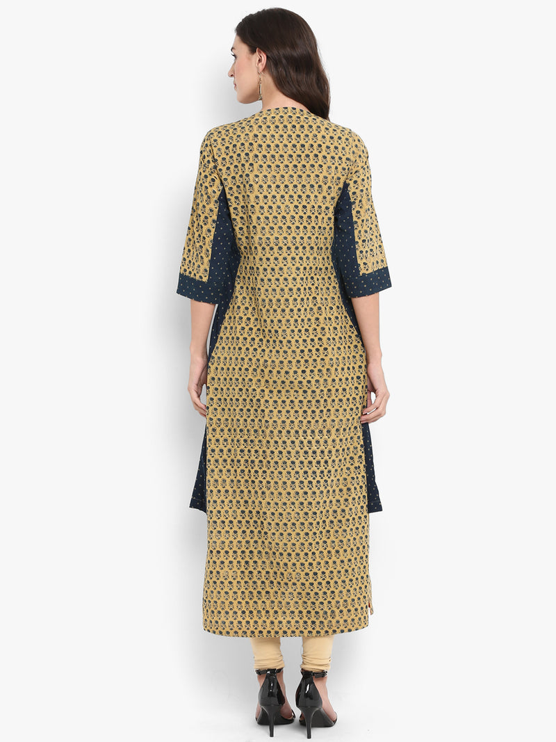 Yellow Indigo Long Kurta with Side Asymmetrical Slit