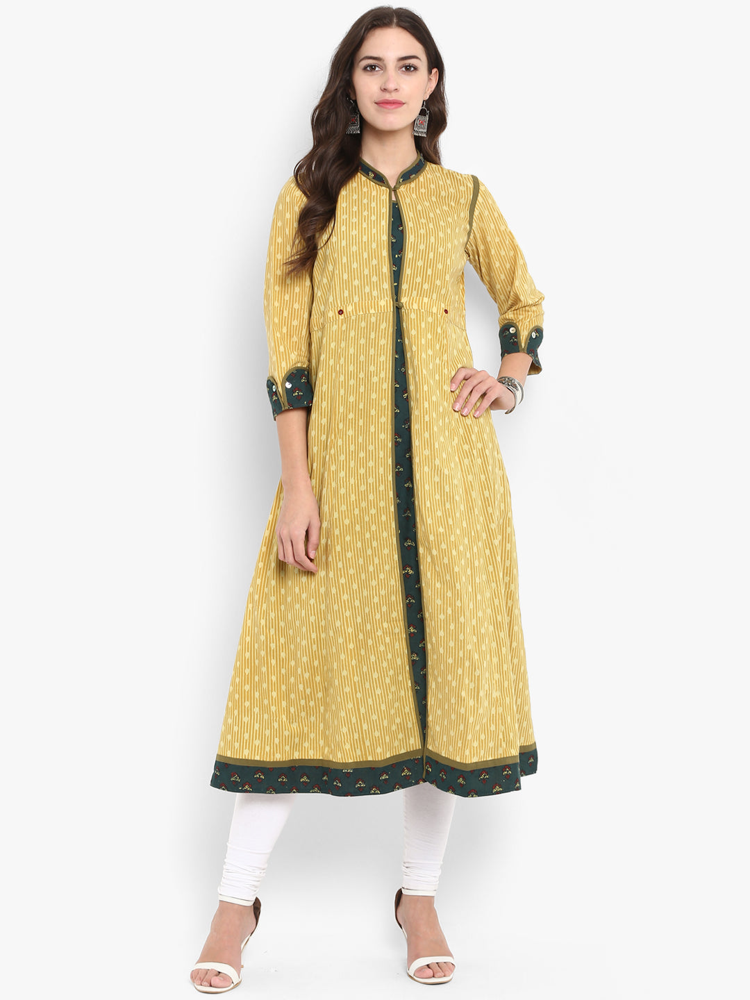Yellow Green Ajrakh trenchcoat style anarkali with closed button neck