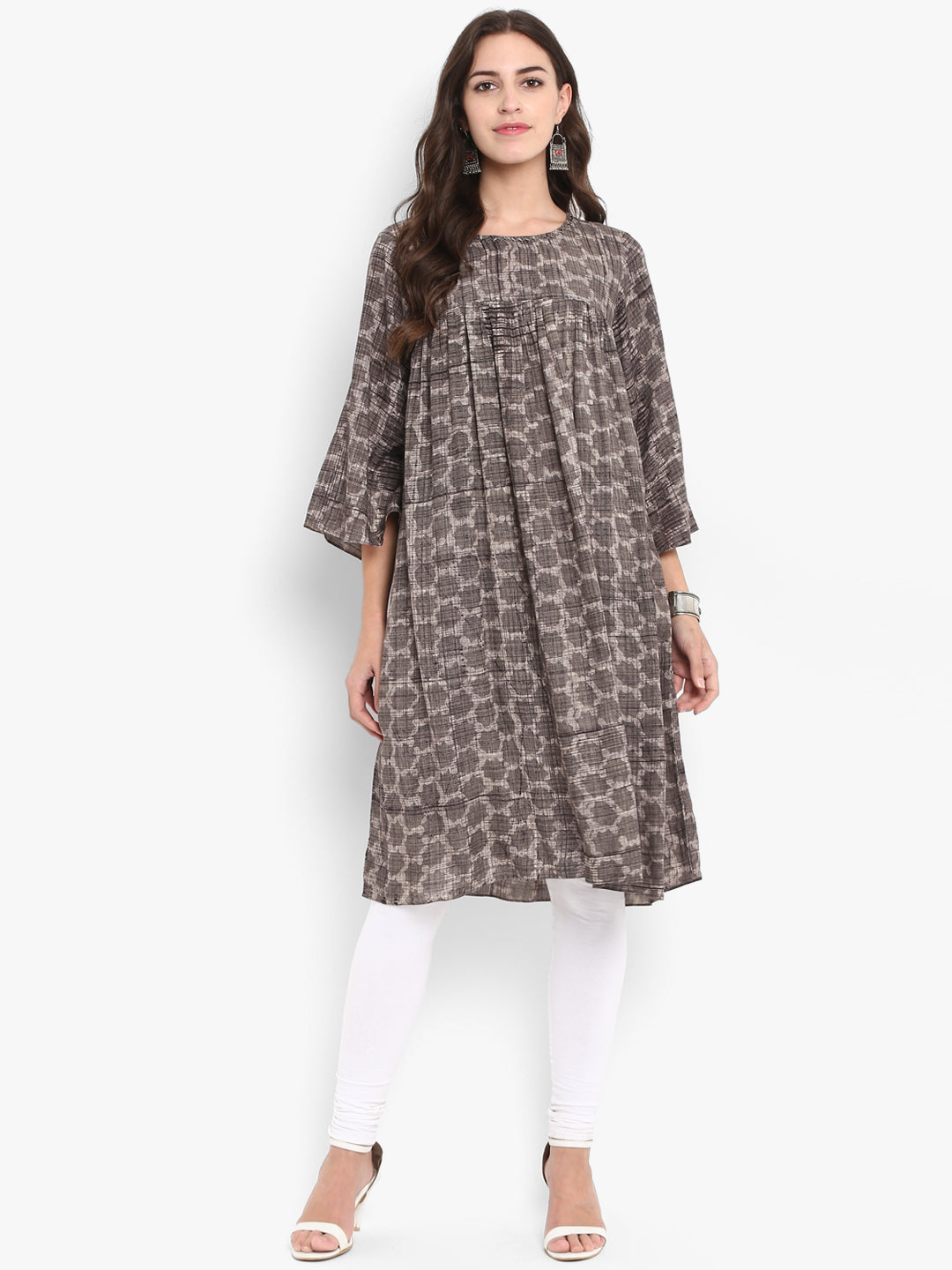 modal gather dress - grey skies & paintbrush