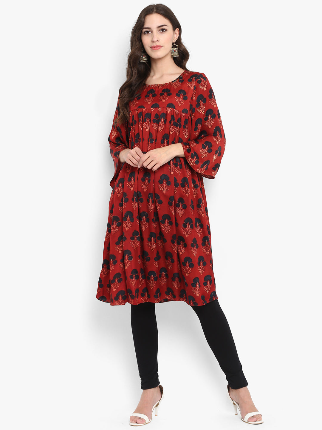 modal gather dress - red earth & blue bells