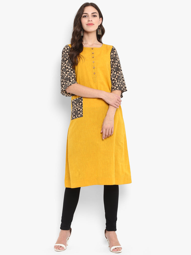 Yellow Mangalgiri a ling knee length tent dress with black ajrakh sleeve