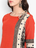 patchwork long kurta - mandarin & monochrome