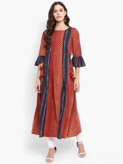 pleated long dress - madder & tint
