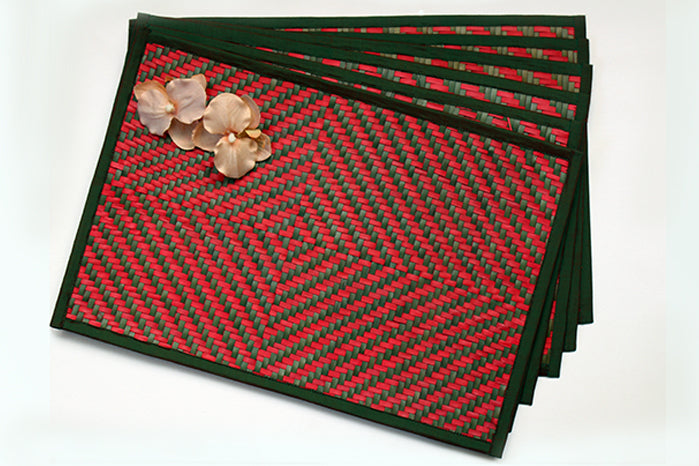 placemats - dark green & red checks (set of 6)