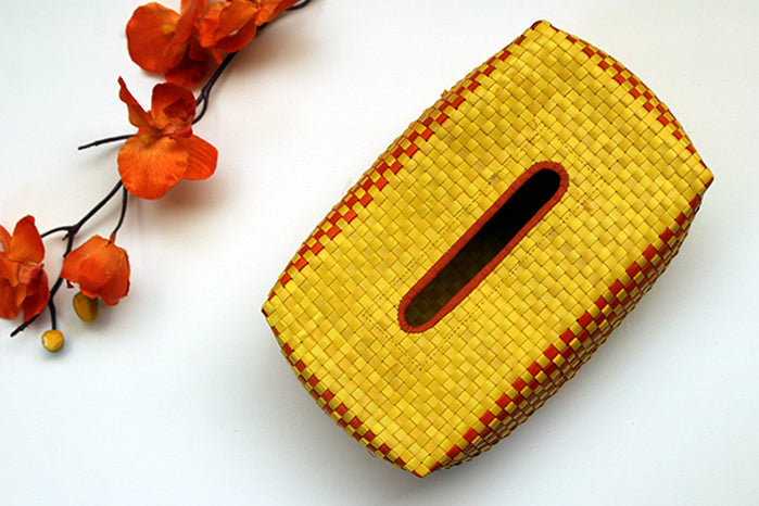 tissue box holder - yellow & orange